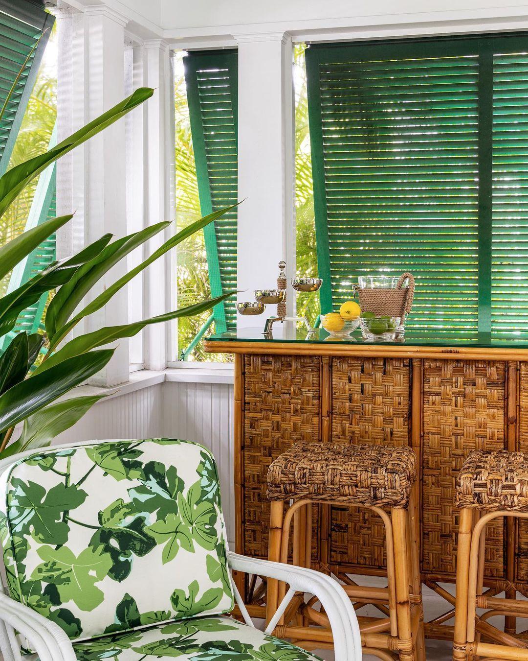 "McCann Design Group on Instagram: ""Happy hour tropical-style on a vintage banana leaf bar. #artdirectorscottage . . #mccanndesigngroup #vintage #westpalmbeach #palmbeach…"""