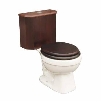 Round Toilet With Dark Oak Wood Tank And White China Bowl16771grid Oak Wood Corner Toilet Toilet