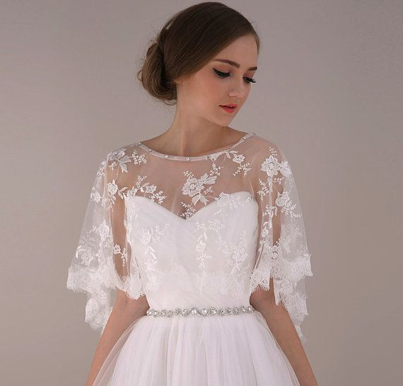 Ivory Soft Embroidery Flower Lace Bridal Cape Bride Wedding Gown