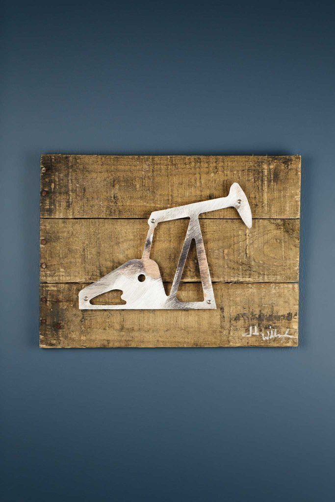 Texas oil derrick reclaimed wood shaped metal art from bourbon boots saved to home collection
