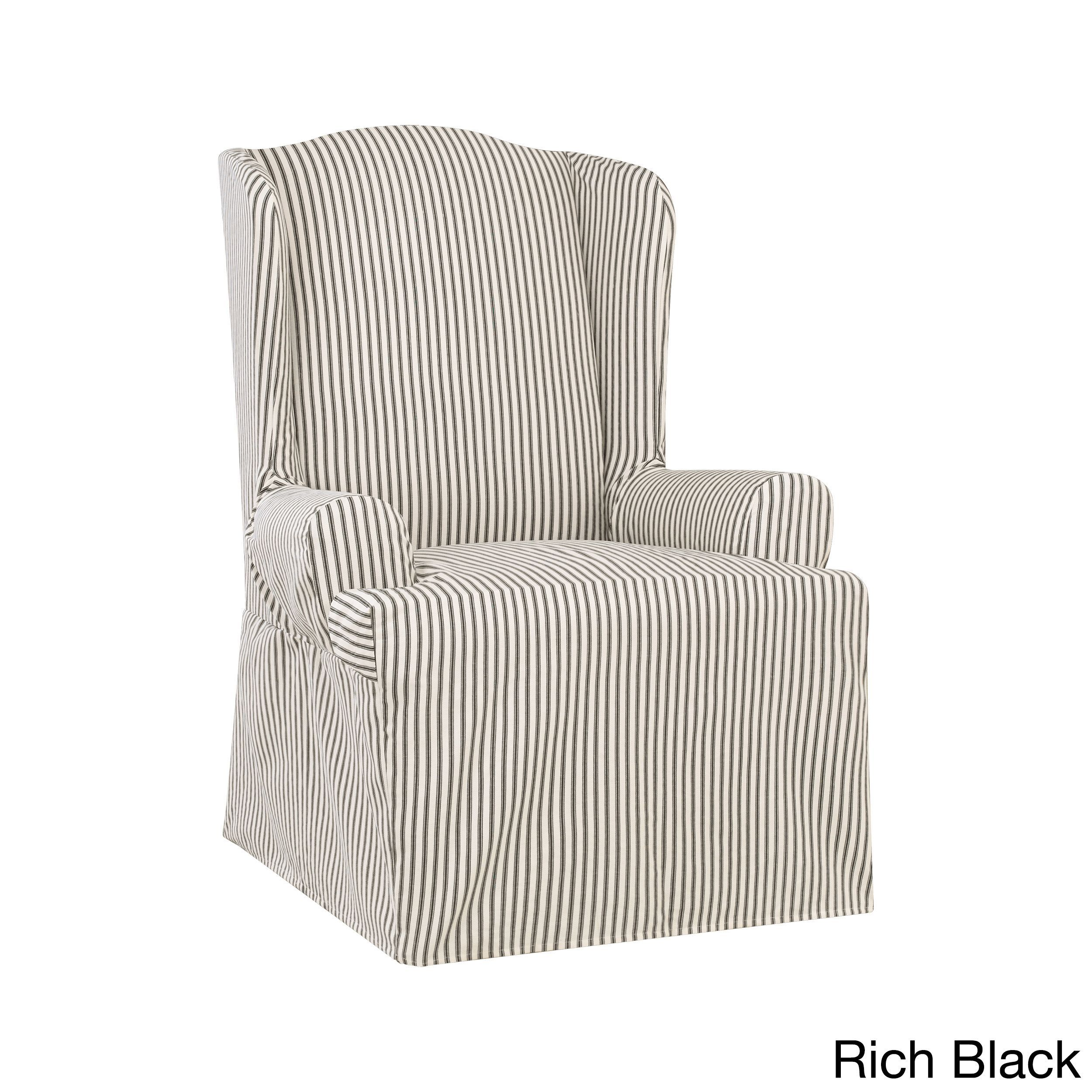 Black Parsons Chair Slipcovers Gaming Ebay Sure Fit Ticking Stripe Wing Slipcover Rich Solid Chairs