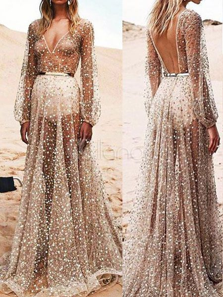 Hübsches Kleid aus Tüll mit V-Ausschnitt in Silbern | Maxi dresses ...