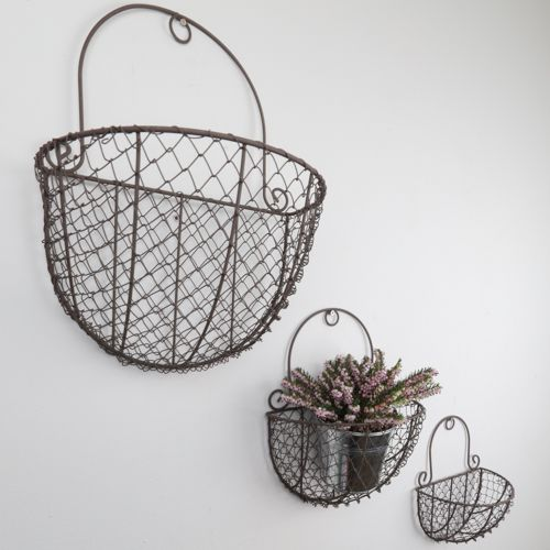 Unique trio of wall mounted chicken wire baskets. Perfect to bring ...