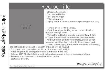 4x6 recipe card template word