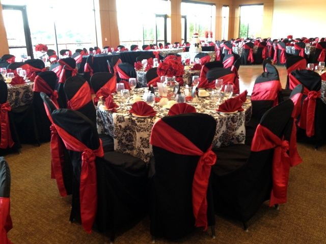 Black And White Damask With Red Accents In Northwest Indiana