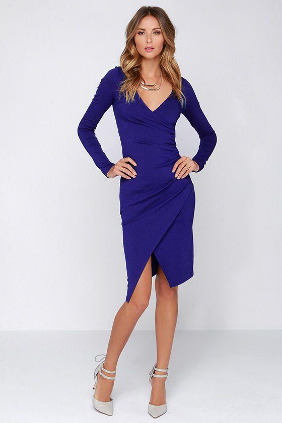 Long sleeve royal blue midi dress