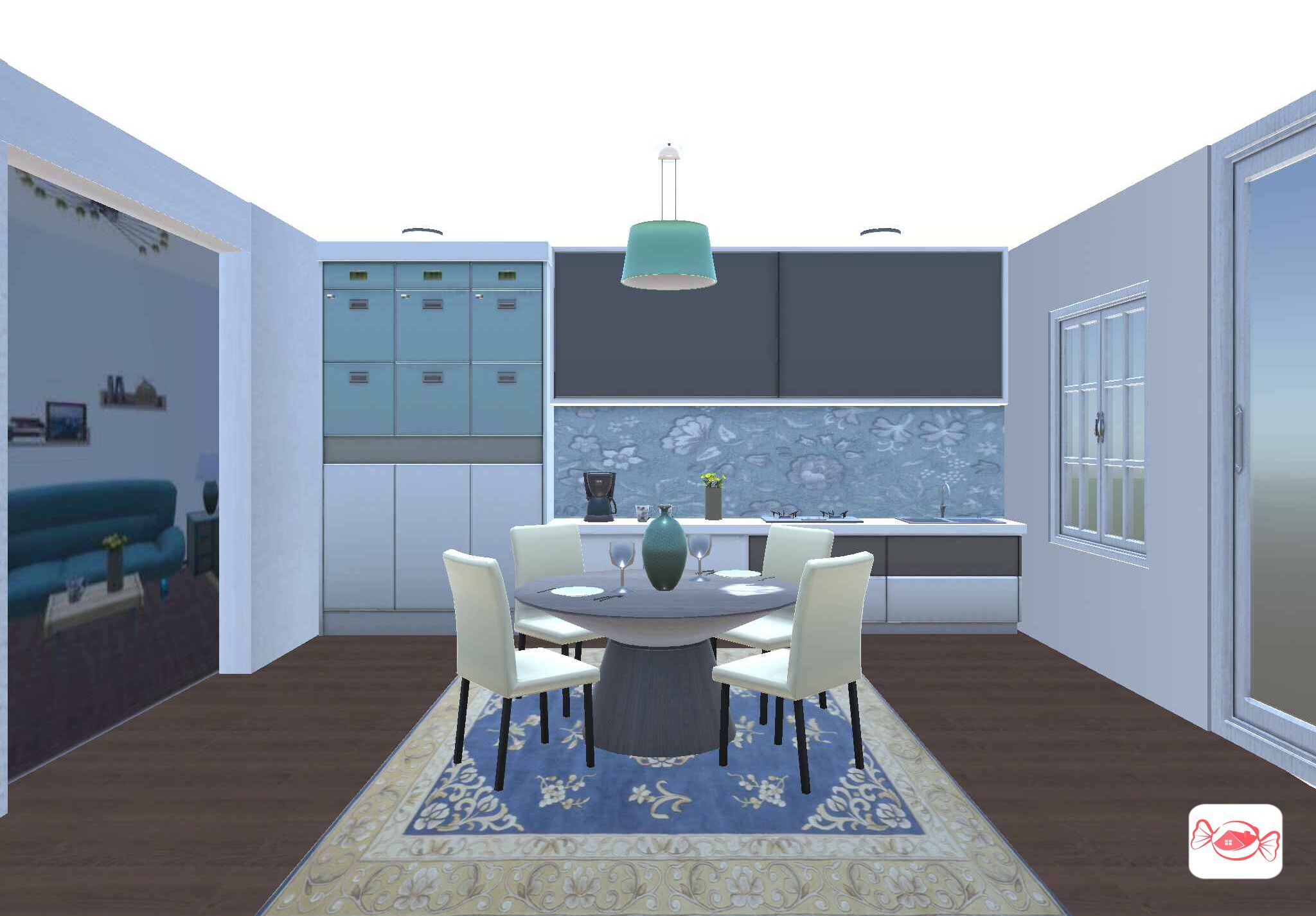Dining room with kitchenette created home sweet  app also rh pinterest