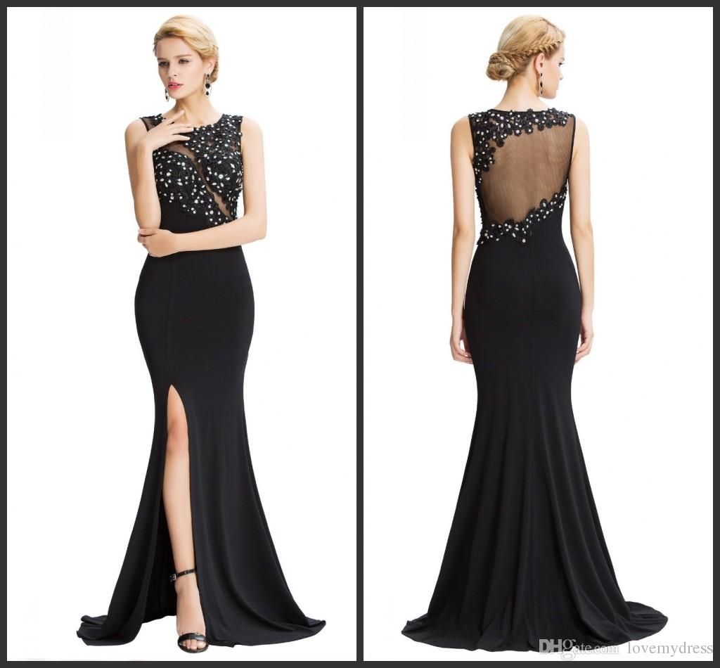 Jewel Neck Crystals Prom Black Evening Gowns Sequin Bling Split ...