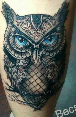 Blue Eye Owl Tattoos Black Owl Tattoo Owl Tattoo