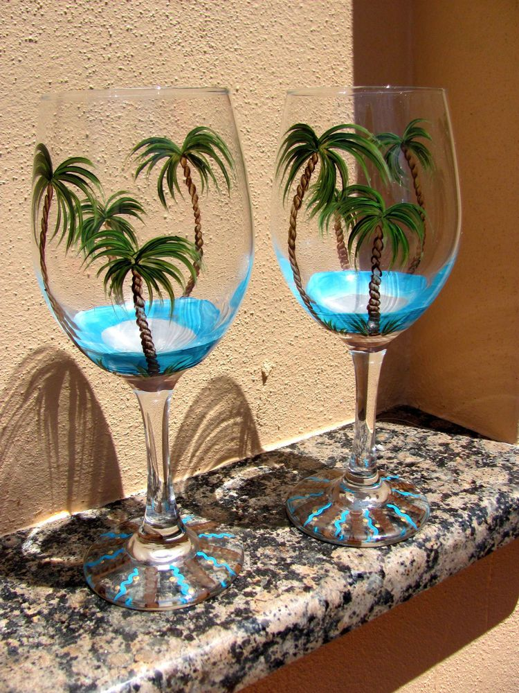 Hand painted tropical beach palm tree wine glasses new for Hand painted wine glasses