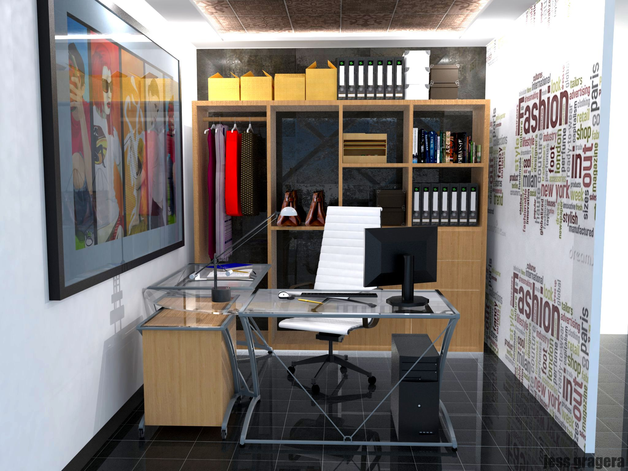 Interior Perspective Office Sketchup Vray Photoshop  # Muebles Google Sketchup