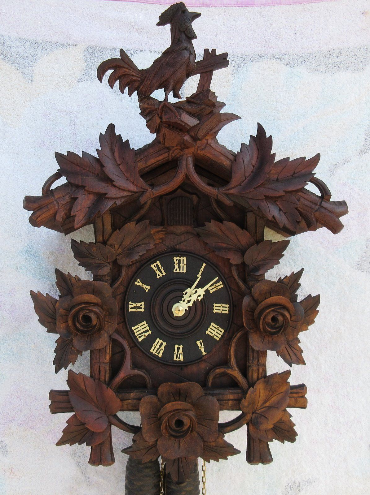 Vintage Miniature Black Forest Style Cuckoo Clock Painted