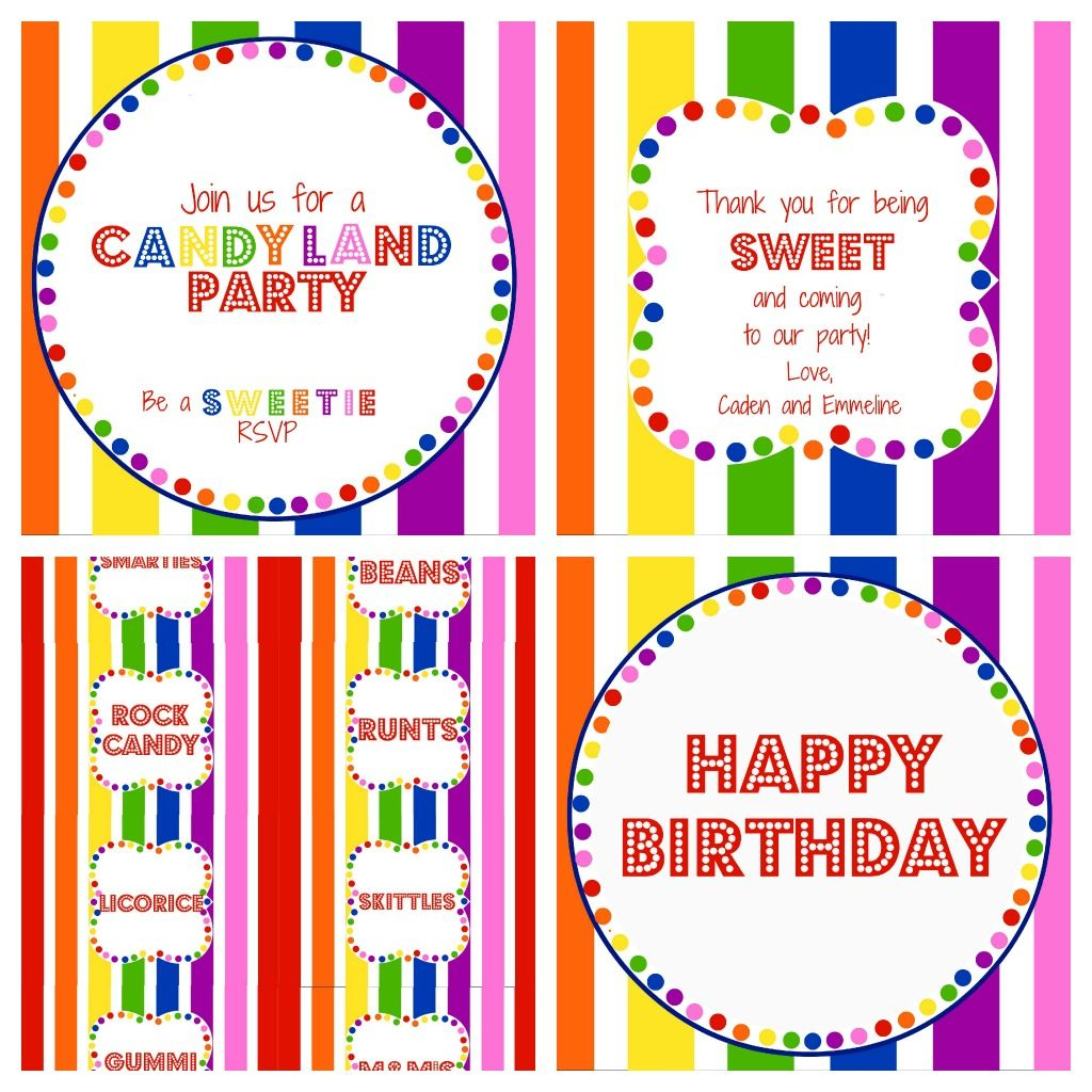 Teaspoons Twine Free Candy Party Printables Candyland Joker