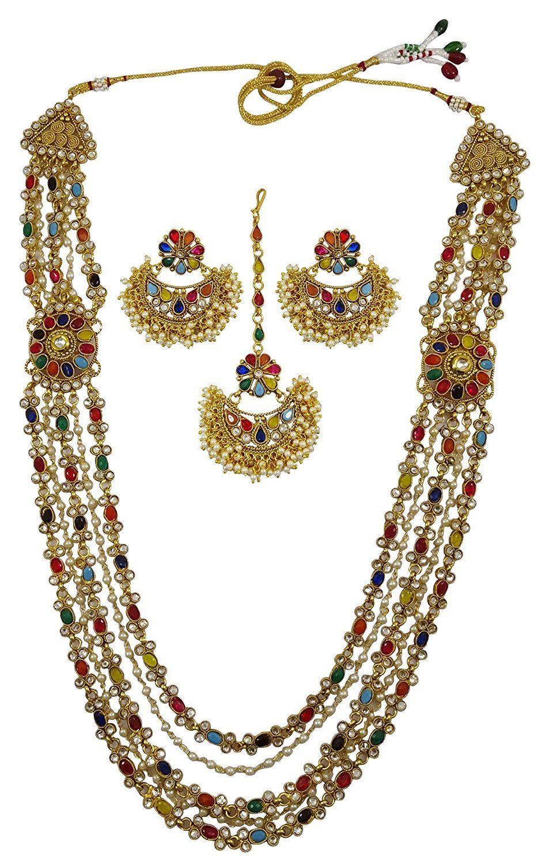 Matra goldtone ethnic kundan stone pcs necklace set traditional