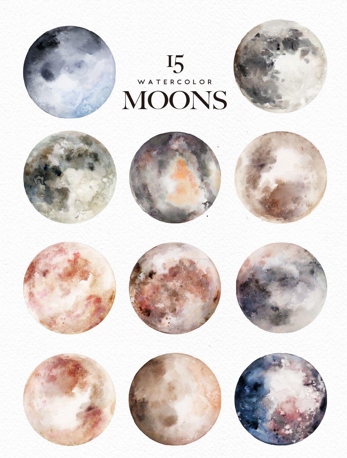 Watercolor Moons Arte De Acuarela Como Dibujar Cosas Cuadernos