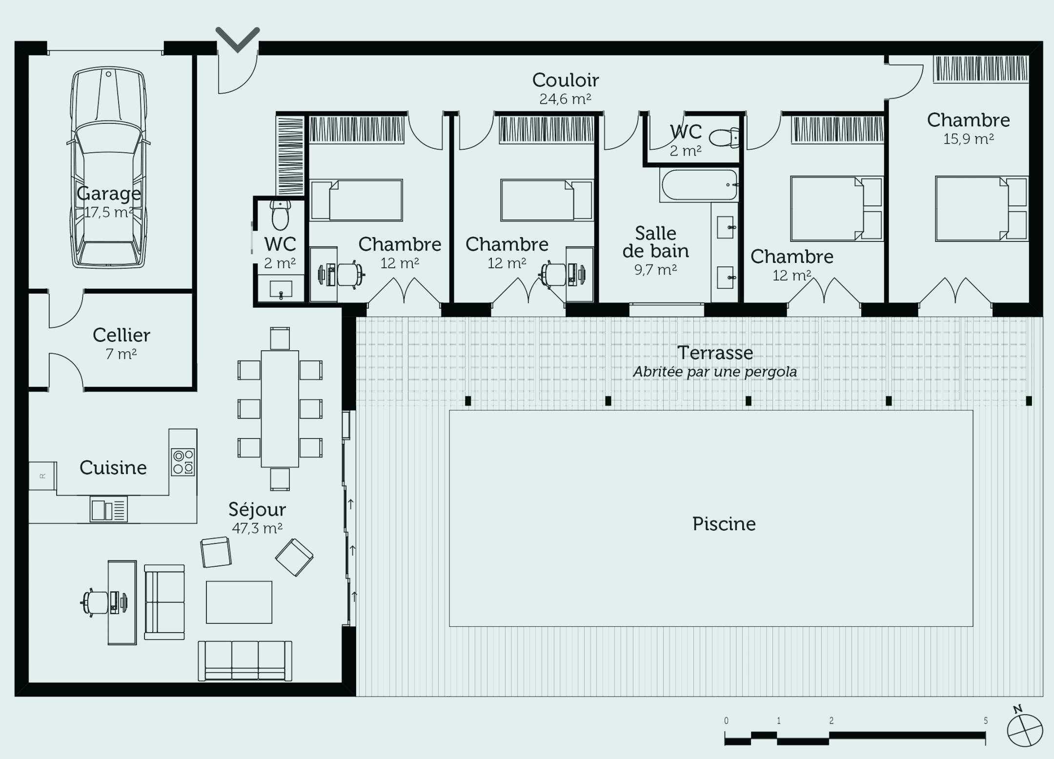 Plan De Maison En L Plain Pied Elegant Plan De Maison Plain Pied 3
