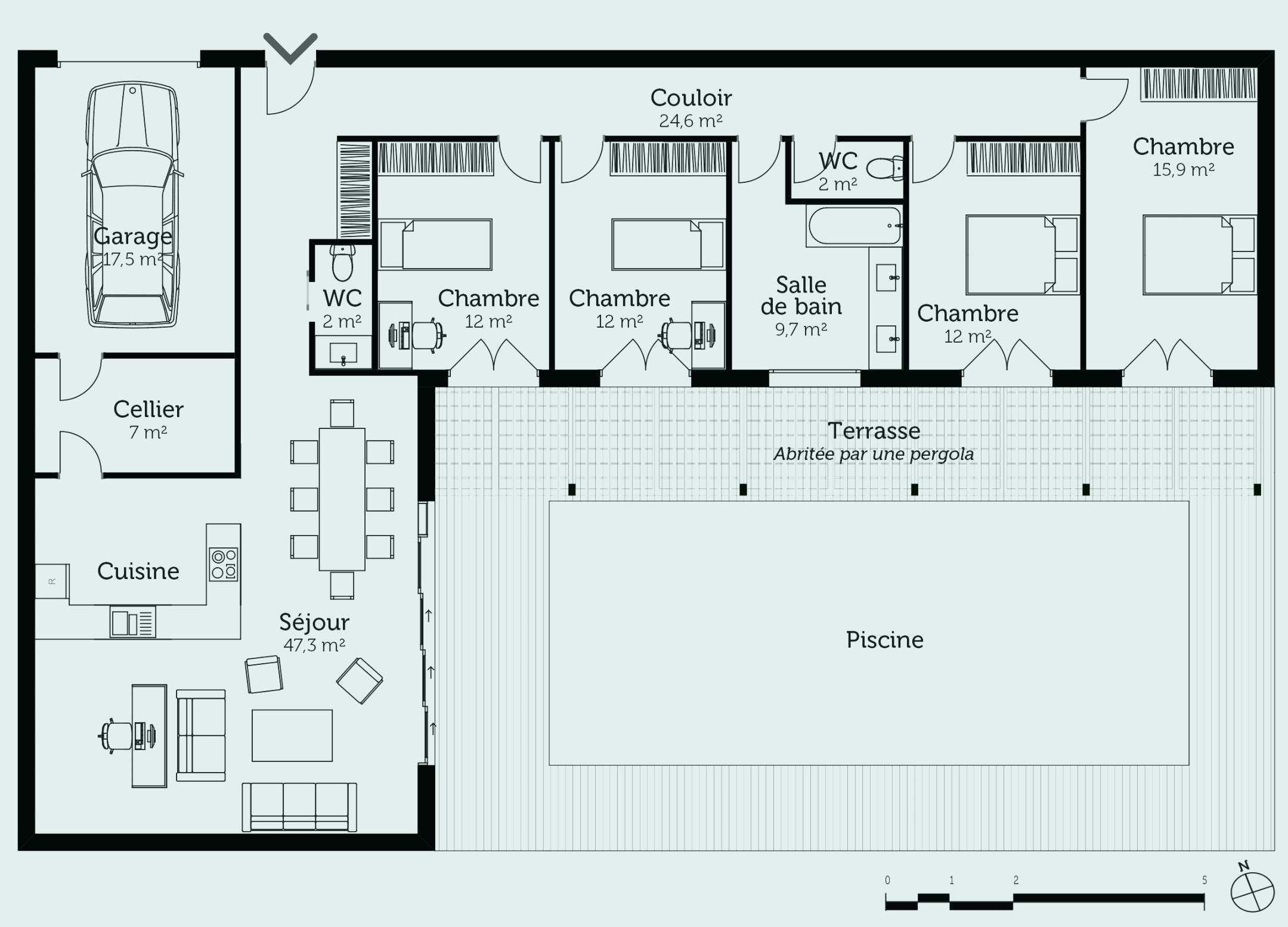 Find Inspiration About Plan De Maison En L Plain Pied Elegant Plan De Maison Plain Pied 3 Plan Maison 7 Casas Em Contentores Plantas De Casas Casas Avarandadas