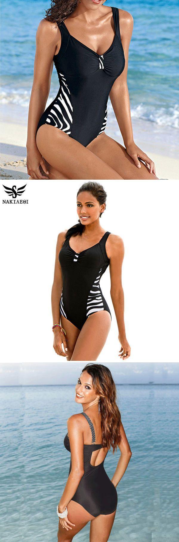 2465068b301 NAKIAEOI 2018 Newest One Piece Swimsuit Women Bathing Suits Vintage Summer  Beach Wear Swim Suit Stripe Plus Size Swimwear 5XL  swimwear  swimsuit   swimsuits ...