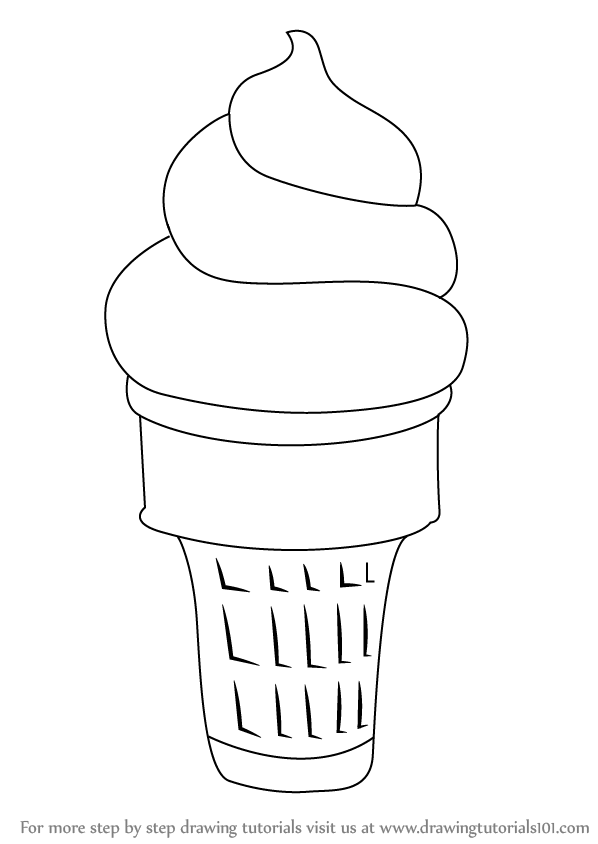 How to Draw Ice Cream Cone step by step, learn drawing by