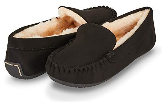 61f4268db75 Floopi Womens Indoor Outdoor Faux Fur Lined Basic Moccasins Slipper W Memory  Foam (6