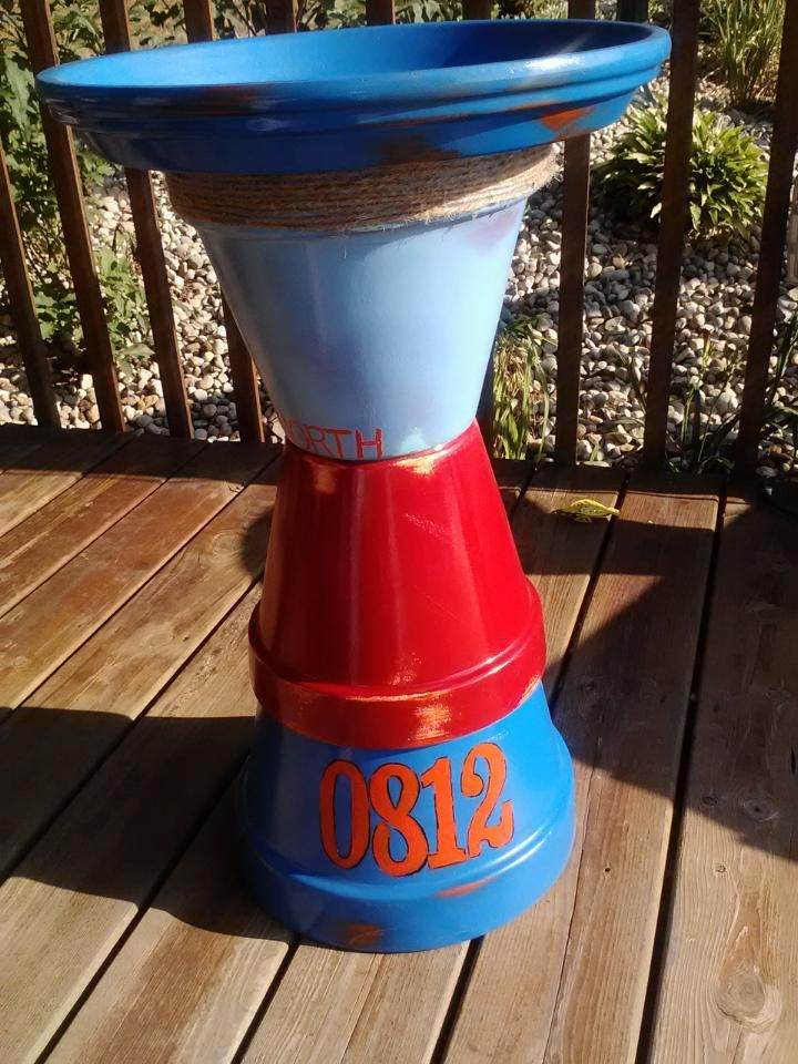 Buoy inspired birdbath for mom's pool patio!