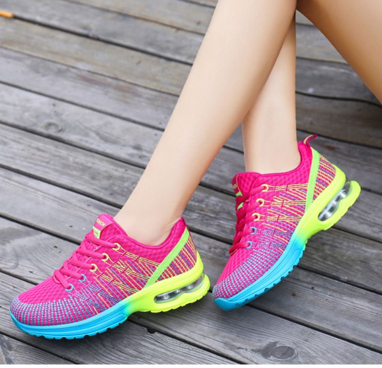Women's Girls Rainbow Color Lace Up Shoes Casual Sport Mesh Sneakers Loafers
