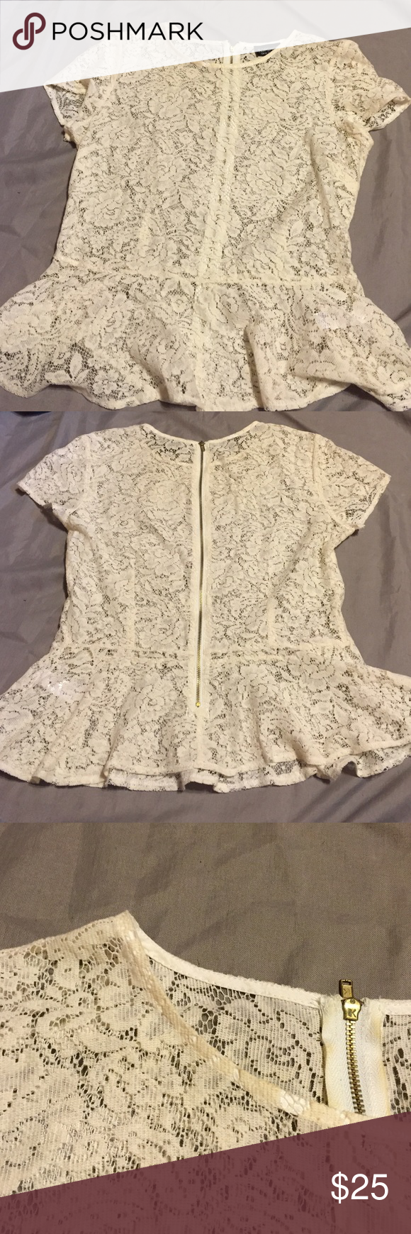 TOPSHOP lace peplum top! TOPSHOP lace peplum top. Zipper detail all the way down the back. Neckline is dirty as shown in pictures, I'm too scared to wash lace! Open to offers using the offer button! Topshop Tops
