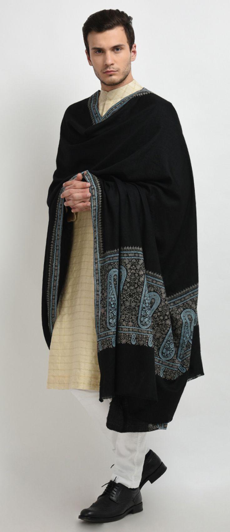 Black pure pashmina sozni hand embroidered menus shawl indian