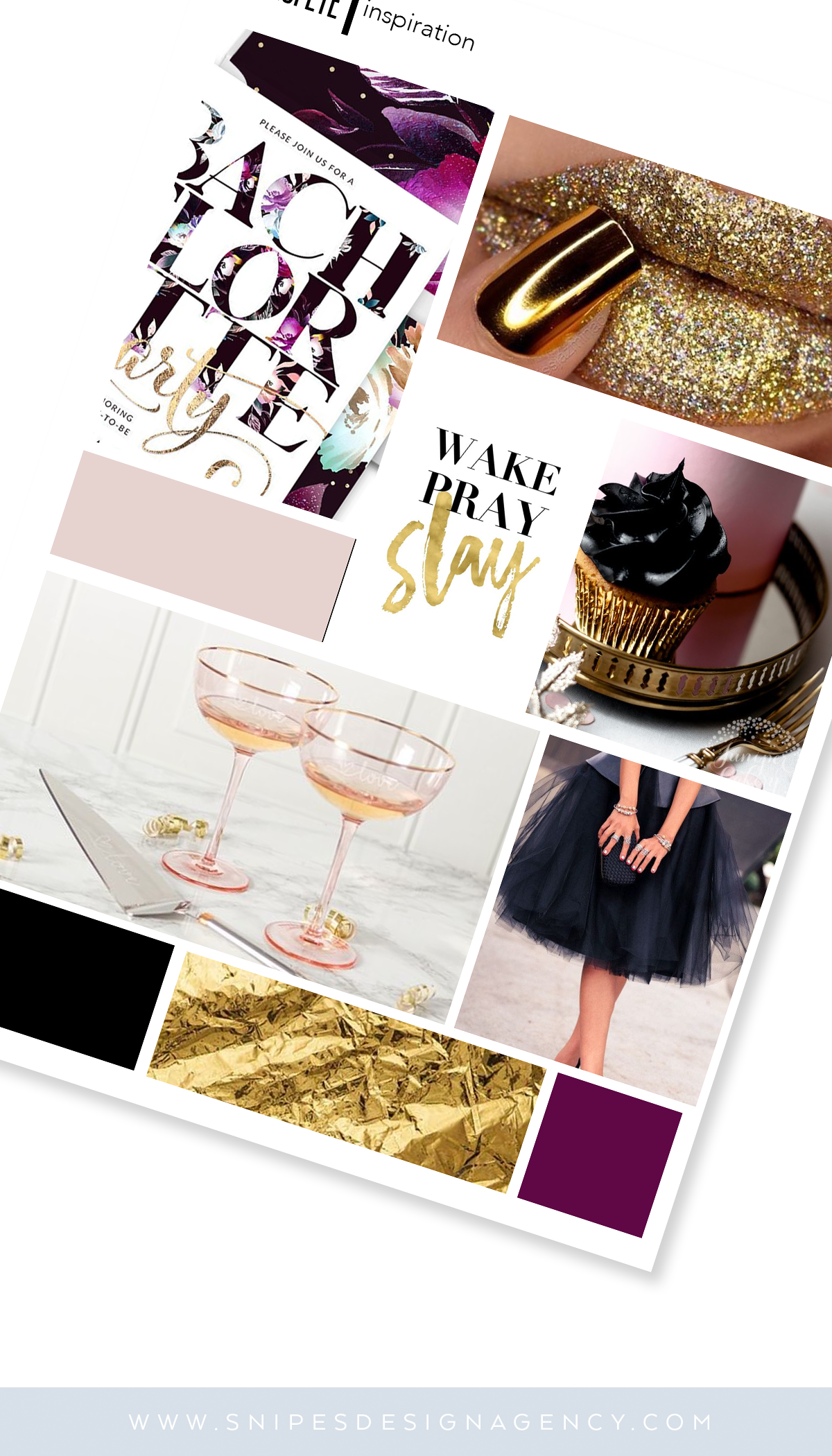 Snipes Design Agency Event Mood Board Gold Black and