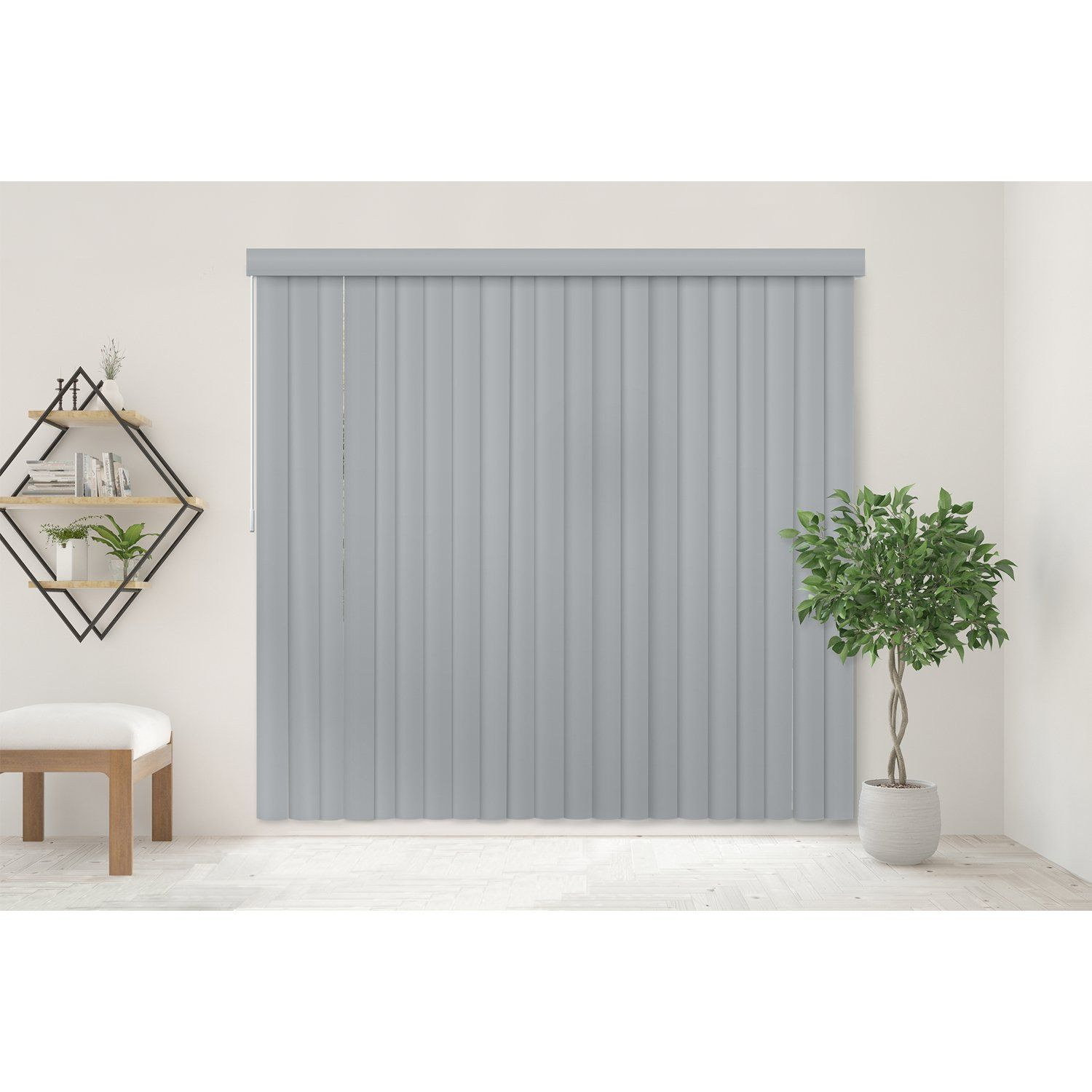 Chicology Cordless Vertical Blinds Patio Door Or Large Window Shade 78 W X 84 H Oxford Gray Vinyl Le Vertical Blinds Vertical Blinds Makeover Shades Blinds