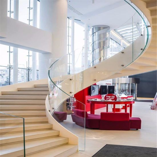 Best Modern Curved Glass Staircases Helical Staircase Design 640 x 480