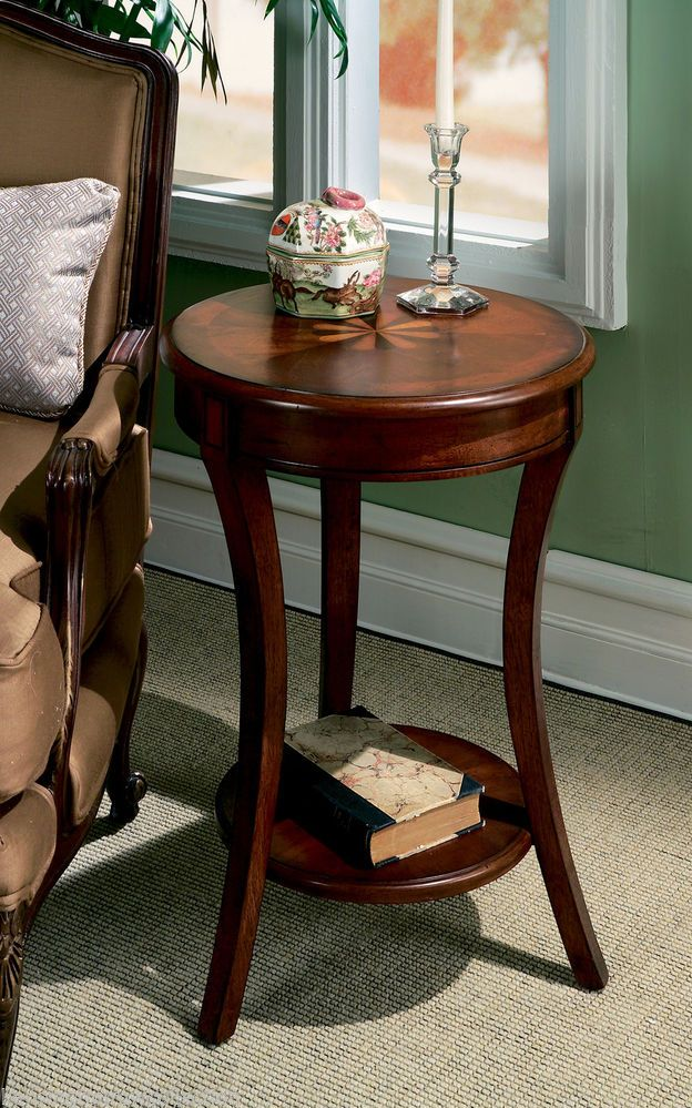 Details About WESTMINSTER INLAID ROUND SIDE TABLE   PLANTATION CHERRY FINISH