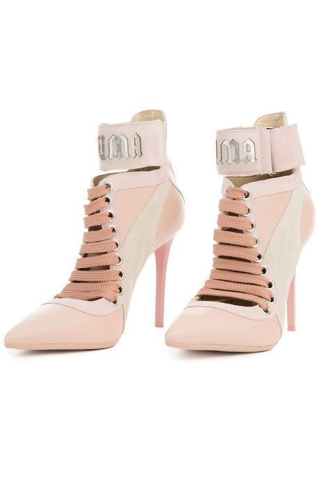 24bf9f6578339e The Fenty x Puma Rihanna Lace Up Heel in Silver Pink - Pink Tint - Camellia  Rose