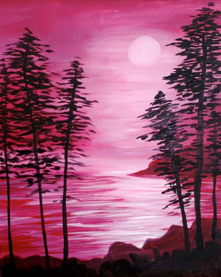 Pines At The Lake At Tequila Rain Paint Nite Events Silhouette Painting Sunset Painting Landscape Paintings