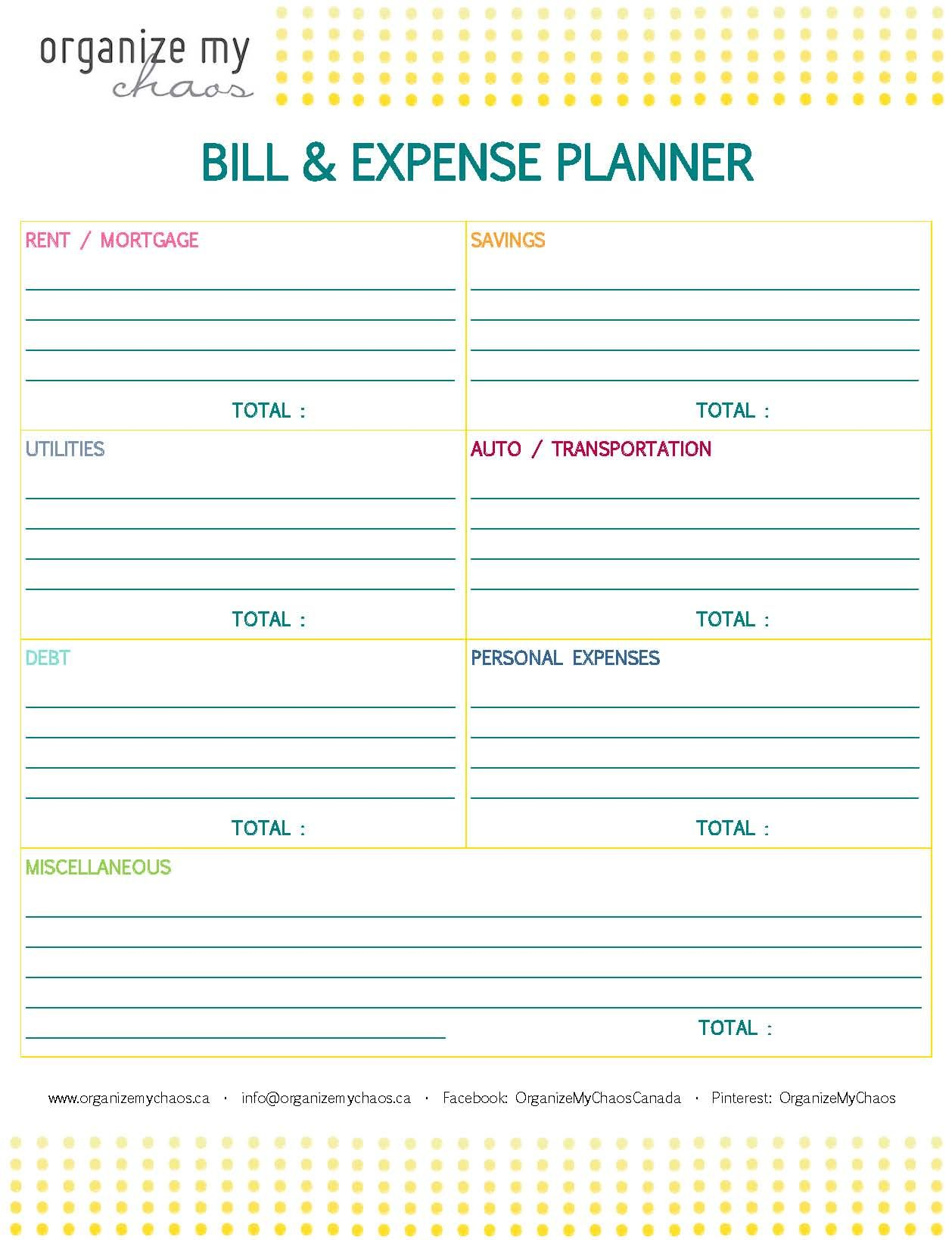 organize my chaos bill expense planner keep track of monthly