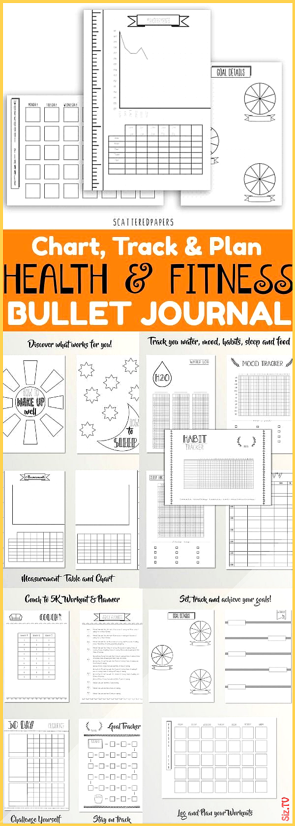 Health and Fitness Bullet Journal  Eine Vielzahl von Seiten die sich dem Health and Fitness Bullet J...