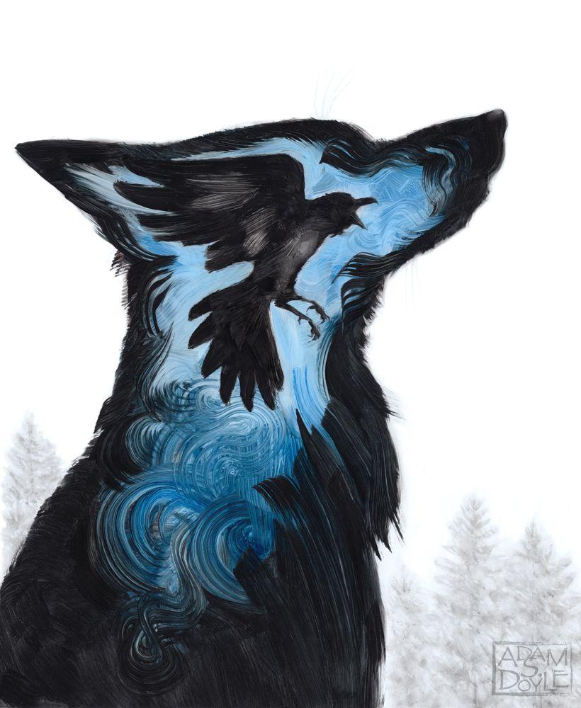 Adam S. Doyle crée des peintures d'animaux stylisés avec seulement quelques coups de pinceaux bien visibles. Vous pouvez trouver son travail ici.