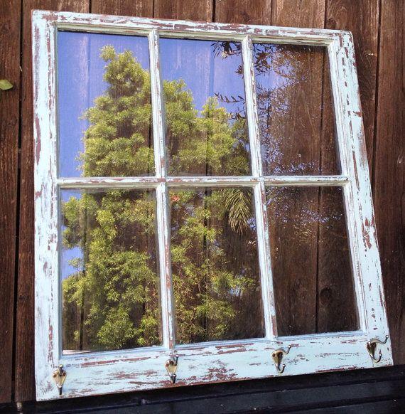 Vintage Distressed Blue Green Old Rustic Hanging Wooden