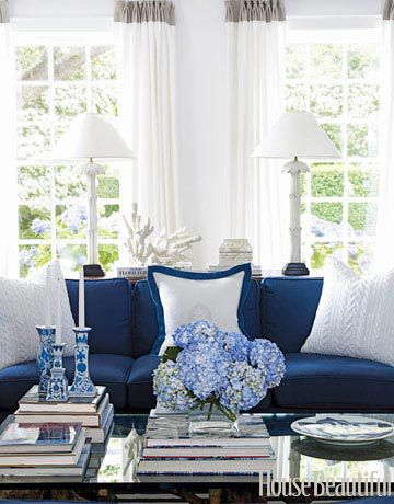 Crisp navy and white...set off by sunshine, hydrangeas and a stack of books to read. I feel certain Vivaldi is playing in the background, and the scent of artichoke-spinach dip, almost ready to be whisked from the oven, is wafting into the room.