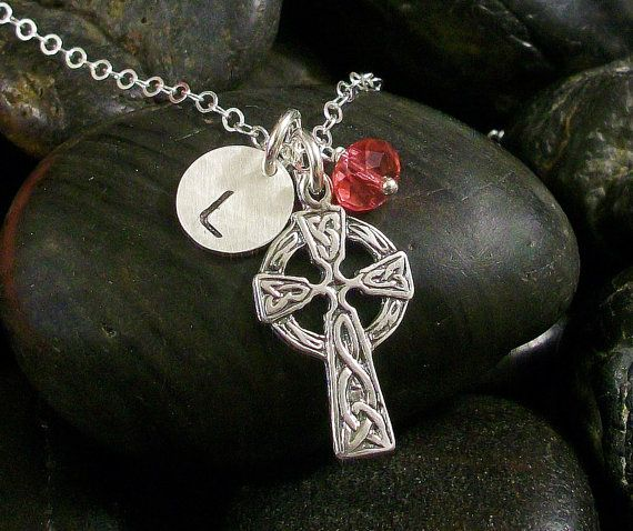 CELTIC Sterling Silver CROSS and INITIAL by TinyTreeTreasures