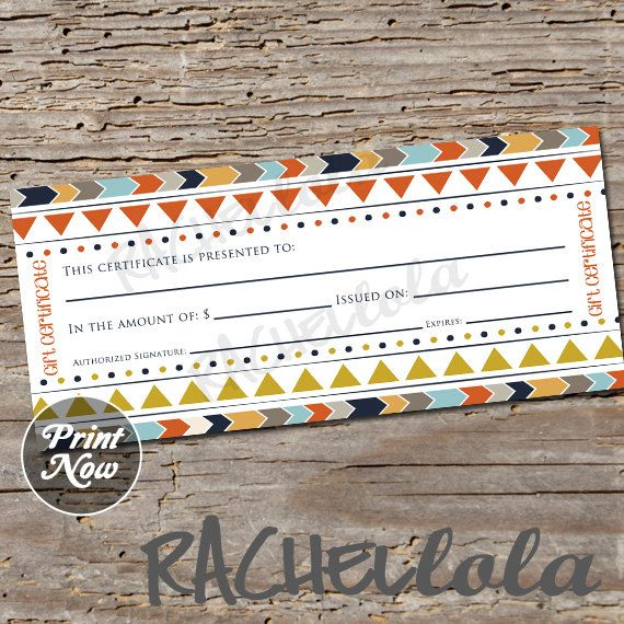 Tribal, printable Gift Certificate template, fall, boho, direct
