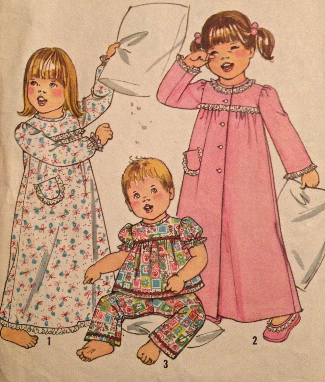 CHILD SLEEPWEAR Sewing Pattern - Toddler Nightgown Pajamas & Robe ...