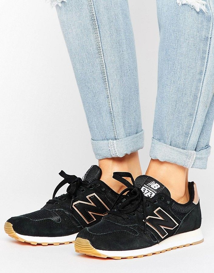 info for 6e17a b2265 New Balance 373 Trainers In Black With Rose Gold Trim