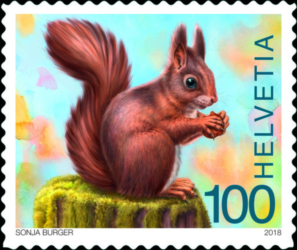 joulupostimerkki 2018 Red Squirrel, (Forest Wildlife). Switzerland 2018 | Postage stamps  joulupostimerkki 2018