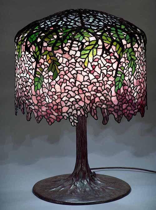 18 Wisteria Burgundy Leaded Glass Bronze Tiffany Lamp 342 Glass Lamp Shade Tiffany Lamps Tiffany Style Lamp