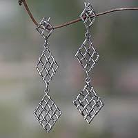 Novica Sterling silver dangle earrings, Diamond Weave
