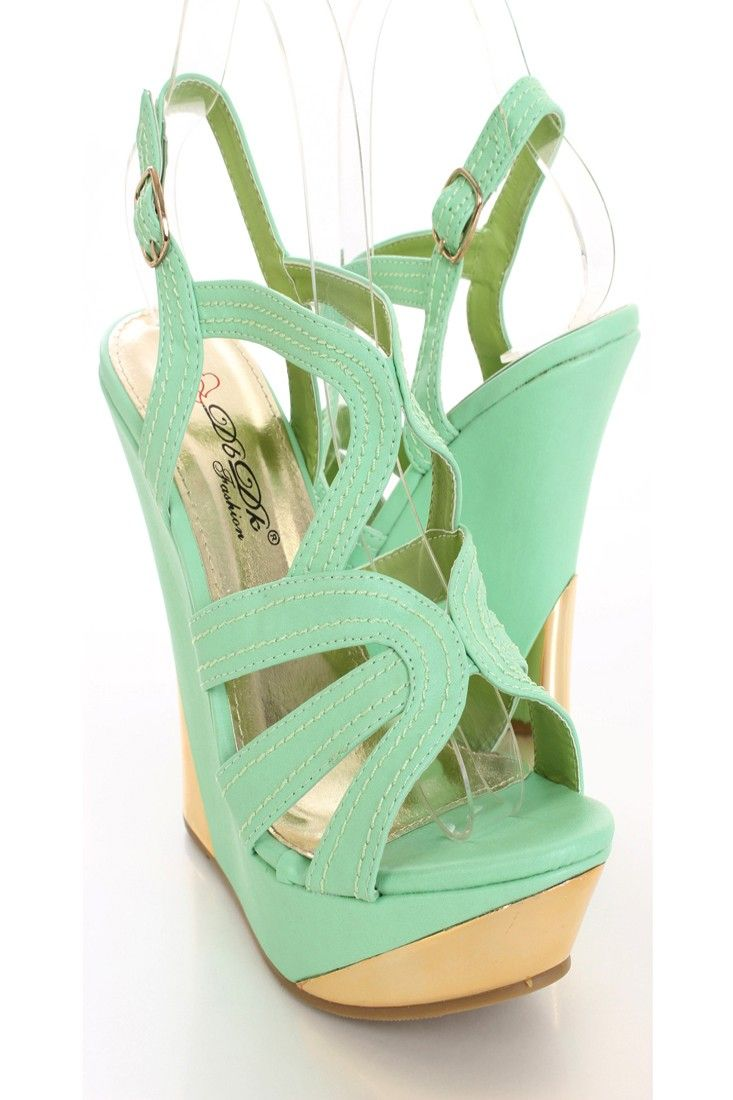 Add these mint wedges to a dress for a fun summer look!