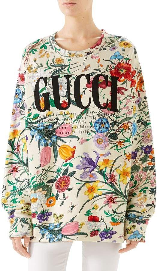 0bdbda04 Women's Gucci Floral Print Cotton Jersey Sweatshirt, Size Small ...