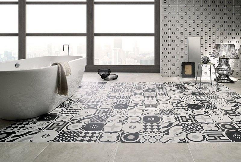 carrelage salle de bain noir et blanc duo intemporel trs classe - Carrelage Salle De Bain Avec Motif