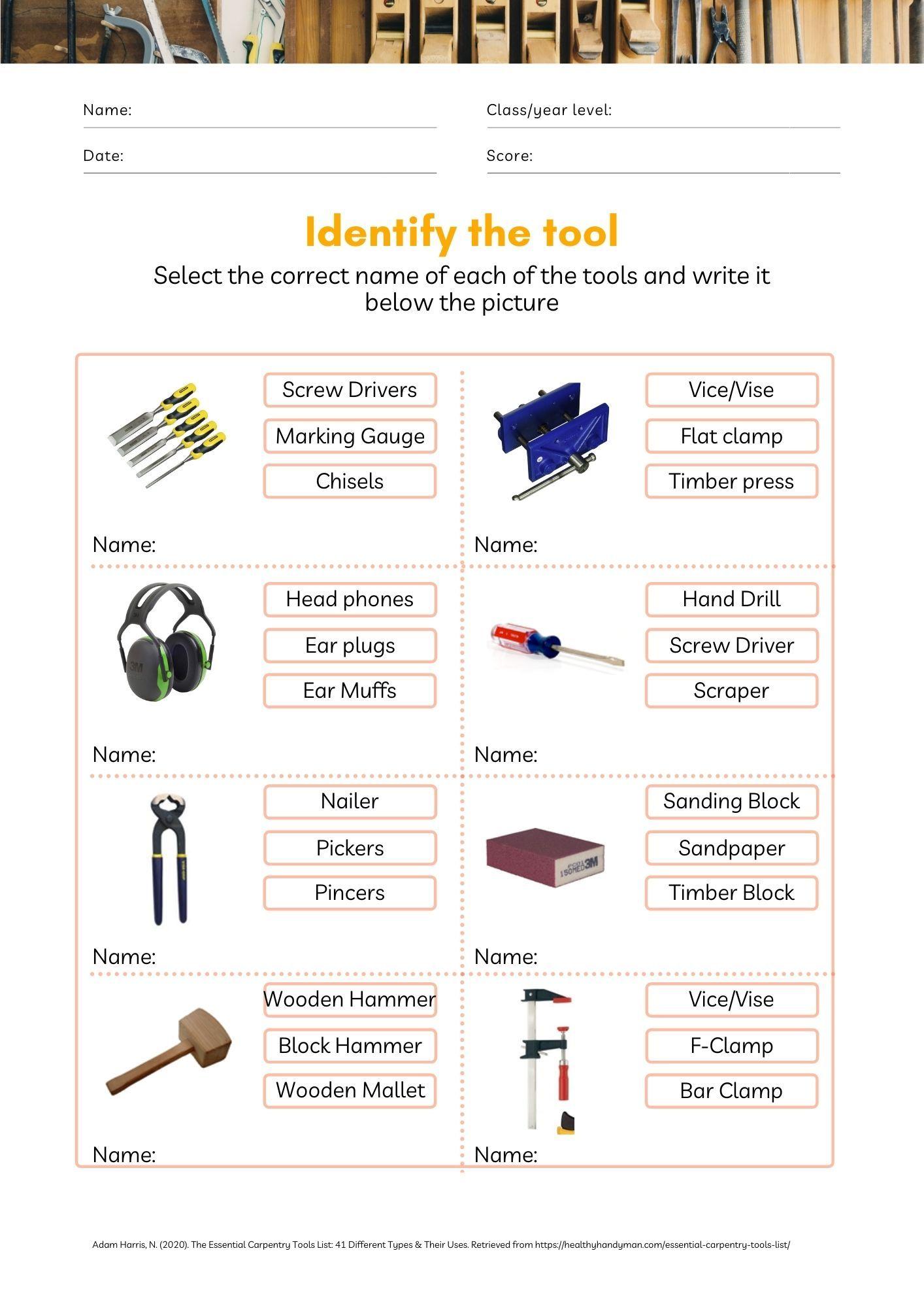 Woodworking Tools Worksheet Woodworking Tools Tools And Equipment Classroom Material [ 2000 x 1414 Pixel ]